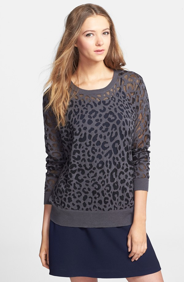 Vince Camuto Animal Burnout Crewneck Sweater