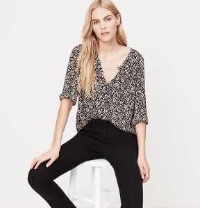 leopard Print Collarless Utility Blouse
