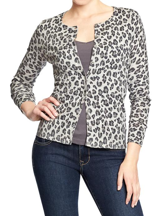 Old Navy Gray Leopard Cardi